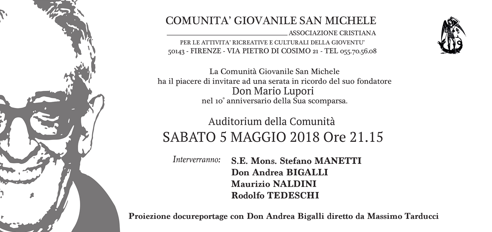 Sabato 5 maggio una proiezione speciale per ricordare Don Mario Lupori a dieci anni dalla sua scomparsa