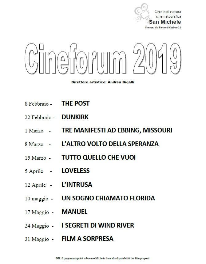 Venerdì 8 febbraio prima proiezione del Cineforum 2019 della Comunità San Michele!