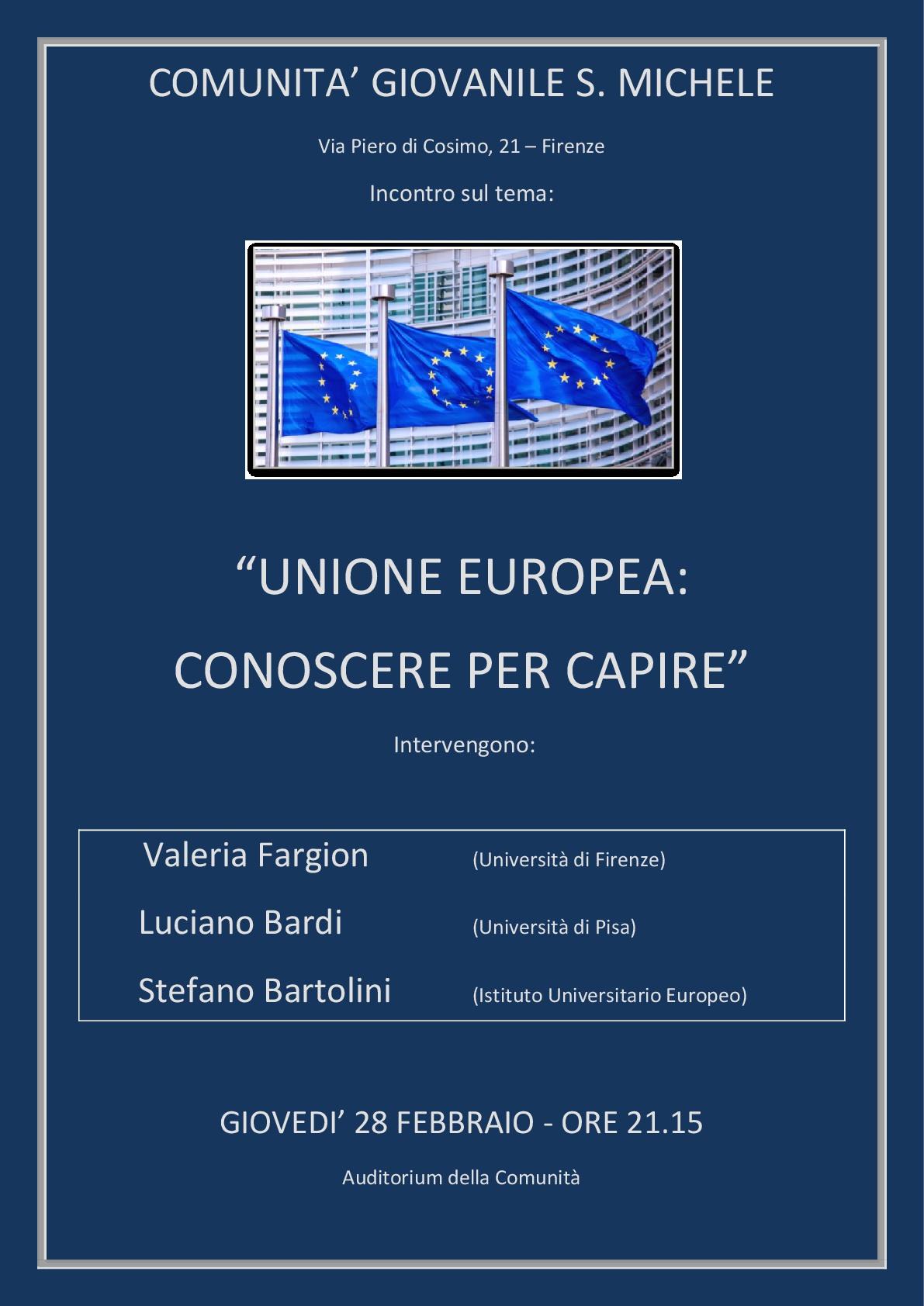 """""""Conoscere per capire"""": giovedì 28 febbraio all'Auditorium San Michele incontro sull'Unione Europea"""