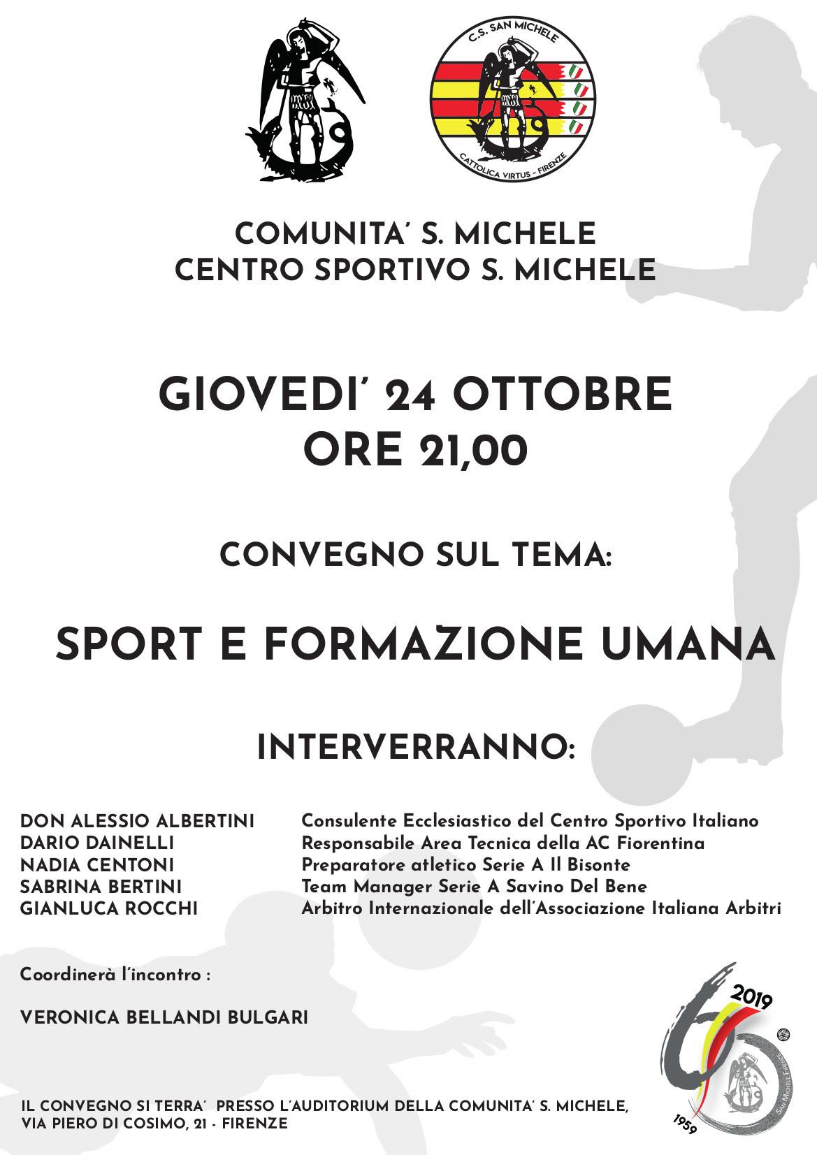 """Giovedì 24 ottobre il convegno """"Sport e formazione umana"""""""