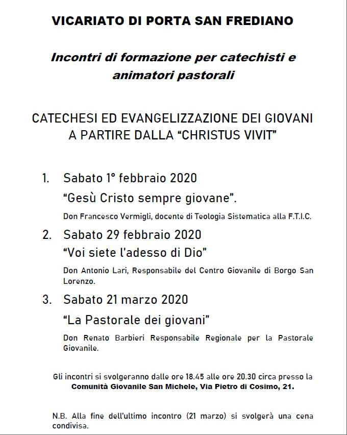 Da sabato 1 febbraio 2020 alla San Michele incontri di formazione  per catechisti e animatori pastorali