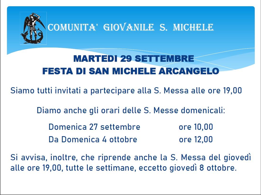 Martedì 29 settembre per la Festa di San Michele Arcangelo messa alle 19